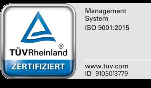 Siegel Geprüfte Bauherren-Zufriedenheit von bauherren-portal.com und TÜV Rheinland zertifiziertes Management System 9001:2015